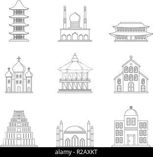 Temple tower castle icons set. Outline illustration of 9 temple tower castle vector icons for web - Stock Photo