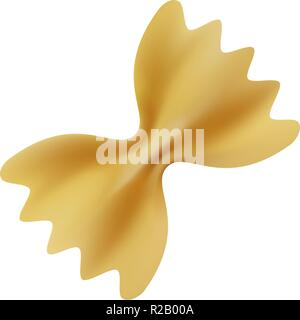 Farfalle pasta mockup. Realistic illustration of farfalle pasta vector mockup for web design isolated on white background - Stock Photo