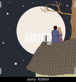 Hand drawn vector illustration of loving couple sitting on roof, looking at moon under stars in night sky with text place - Stock Photo