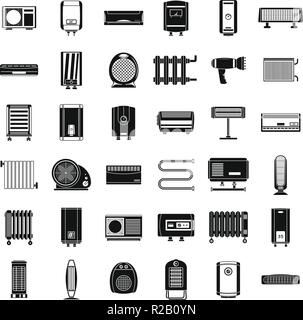 Electric heater device icons set. Simple illustration of 36 electric heater device vector icons for web - Stock Photo