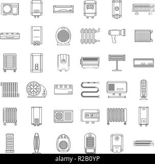 Electric heater device icons set. Outline illustration of 36 electric heater device vector icons for web - Stock Photo