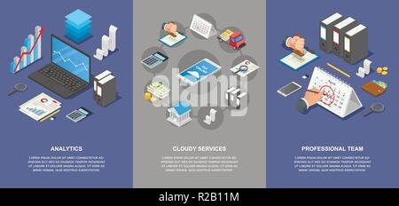 Taxes accounting money banner concept set. Isometric illustration of 4 taxes accounting money vector banner horizontal concepts for web - Stock Photo