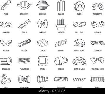Macaroni pasta spaghetti noodles icons set. Outline illustration of 30 macaroni pasta spaghetti noodles vector icons for web - Stock Photo