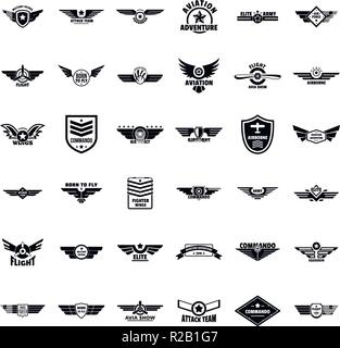 Airforce military army badge logo icons set. Simple illustration of 36 airforce military army badge logo vector icons for web - Stock Photo