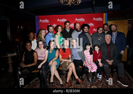 NEW YORK, NY - FEBRUARY 10:  Phillipa Soo, Adam Chanler-Berat and cast/crew attend the 'Amelie' Broadway Musical Sneak Peek Concert at The Cutting Room on February 10, 2017 in New York City.  (Photo by Steve Mack/S.D. Mack Pictures) - Stock Photo