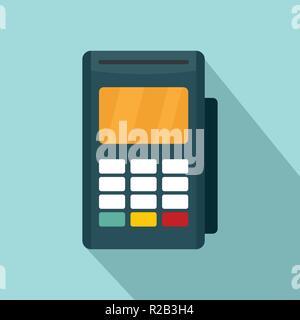 Credit card reader icon. Flat illustration of credit card reader vector icon for web design - Stock Photo