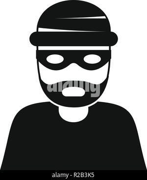 Thief icon. Simple illustration of thief vector icon for web design isolated on white background - Stock Photo