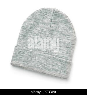 Wool knit beanie hat isolated on white - Stock Photo