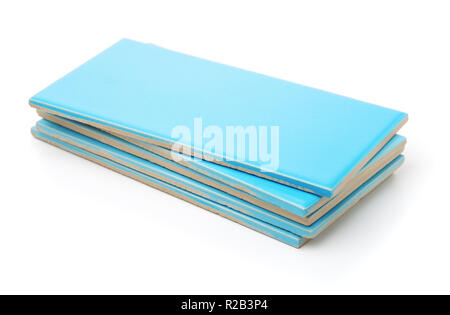 Stack of blue wall ceramic tiles isolated on white - Stock Photo