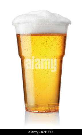 Front view of draught beer in plastic disposable cup isolated on white - Stock Photo