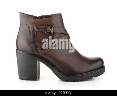 Side view of single brown leather woman winter boot isolated on white - Stock Photo