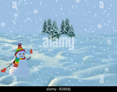 Festive Christmas and New year background with happy smiling snowman in striped knitted bright hat, scarf and red mittens. Winter landscape with snowd - Stock Photo