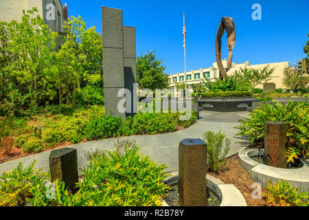 Los Angeles, California, United States - August 6, 2018: Beverly Hills 9-11 Memorial Garden is a memorial space in honor of September 11 attacks built with a wreckage of the World Trade Center. - Stock Photo