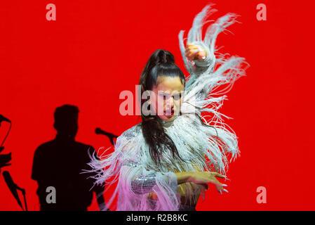 BARCELONA - JUN 15: Rosalia (flamenco singer) performs in a concert at Sonar Festival on June 15, 2018 in Barcelona, Spain. - Stock Photo