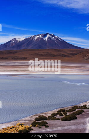 Landscape of the Andes mountain at Stinky lake (Laguna Hedionda), Bolivia - Stock Photo