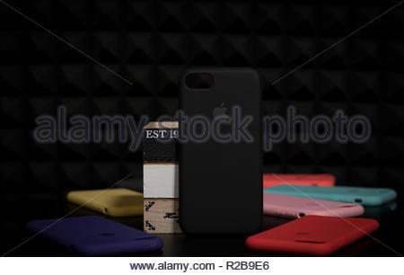 Black Iphone original silicone colorful phone cases - Stock Photo