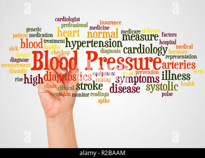 Blood Pressure word cloud hand sphere concept on white background. - Stock Photo