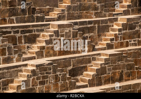 Detail of the stairs of the Chand Baori stairwell at Abhaneri in Rajasthan - Stock Photo