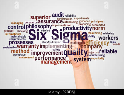 Six Sigma -  improve the quality, word cloud and hand with marker concept on white background. - Stock Photo