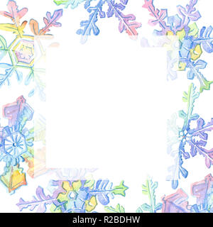 Christmas snowflakes. Christmas winter holiday symbol in a watercolor style. 2019 pig year, happy holidays. Frame border ornament . Watercolor backgro - Stock Photo