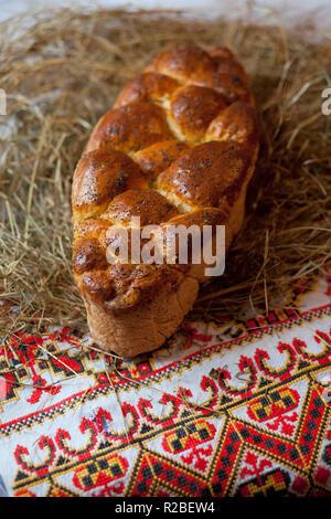 Kalach. Traditional East Slavic bread. Christmas still life - Stock Photo