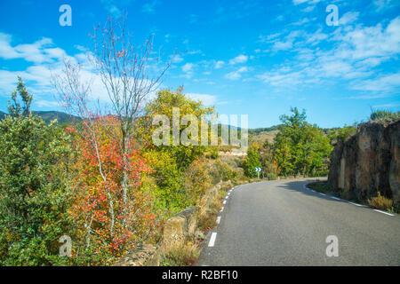 Side road. Sierra Norte Nature Reserve, Guadalajara province, castilla La Mancha, Spain. - Stock Photo