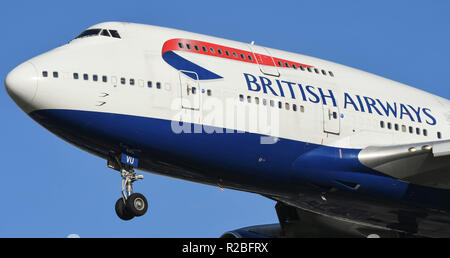 LONDON, ENGLAND - NOVEMBER 2018: Close up view of the nose of a British Airways Boeing 747 'Jumbo jet' long haul airliner landing at London Heathrow A - Stock Photo