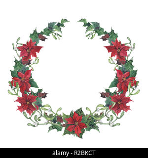 Watercolor christmas wreath with holly, mistletoe and poinsettia. Hand painted christmas floral border isolated on white background. Botanical illustr - Stock Photo