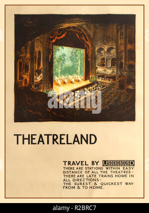 Vintage 1920's Theatreland Travel By Underground Poster Original vintage travel advertising poster published by London Underground promoting its services to Theatreland Travel by Underground - There are stations within easy distance of all the theatres - illustration by the Dutch artist Jan Poortenaar (1886-1958) depicting a view of ballet dancers dancing on the stage - Swan Lake - with the orchestra playing their musical instruments and people watching the performance in one of London's decorated Theatres - Stock Photo