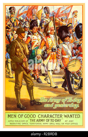 Vintage WW1 propaganda poster 1913 British Army Recruitment Poster illustrating Great Britain Armies in uniform marching back through history.. The Army of Today and Yesterday.. 'men of good character wanted'     'The Army of Today' - Stock Photo