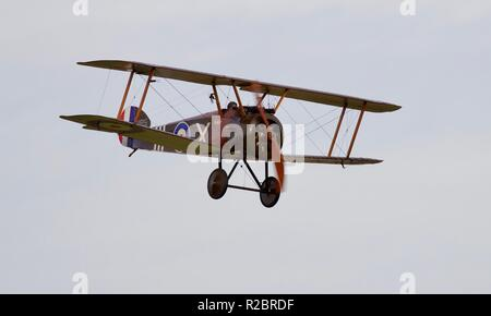 World War I replica of a 1918 Sopwith Camel biplane fighter aircraft introduced on the Western Front in 1917 - Stock Photo
