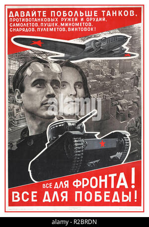 Vintage 1940's Russia Soviet Union USSR propaganda war poster.. 'Everything for the Front -Everything for Victory' 'Give us more tanks' Soviet WWII WW2  propaganda poster. War workers industry appeal for more fighting hardware poster by influential Soviet artist El Lissitzky.1942 Moscow Soviet Union USSR Russia - Stock Photo