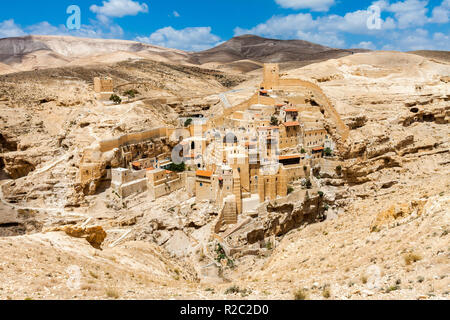 Holy Lavra of Saint Sabbas, Mar Saba, Eastern Orthodox Christian monastery overlooking the Kidron Valley. West Bank, Palestine, Israel. - Stock Photo