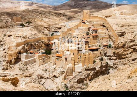 Holy Lavra of Saint Sabbas, Mar Saba, Eastern Orthodox Christian monastery overlooking the Kidron Valley. West Bank, Palestine, Israel. - Stock Photo