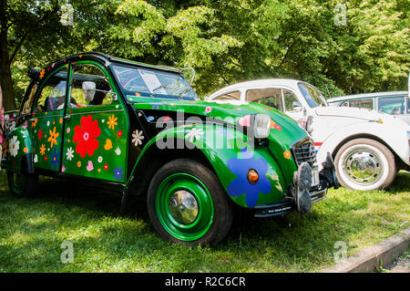 Prague, Czech Republic, May 26, 2018, Citroën 2CV, popularly called Duck, Kette, or Duck, canette, according to his soft cushion, with which the car - Stock Photo