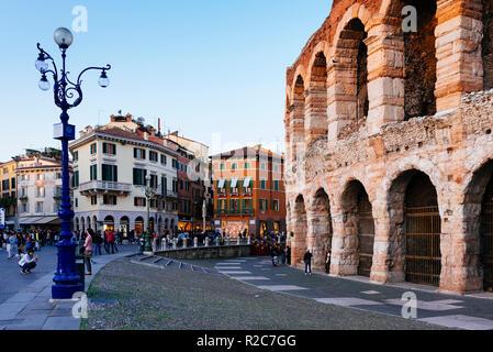 Roman amphitheatre Arena di Verona and Piazza Bra square. Verona, Veneto, Italy, Europe - Stock Photo