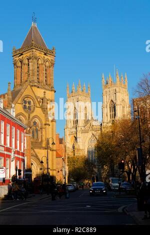 St Wilfrid's Ctholic Church standing along York Minster. - Stock Photo