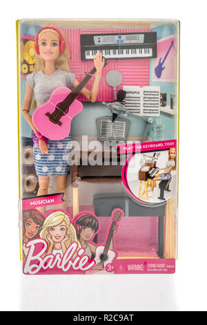 Winneconne, WI - 4 November 2018: A package of Barbie as a Musician on an isolated background. - Stock Photo