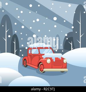 Winter forest and road. Car rides in the snow - Stock Photo
