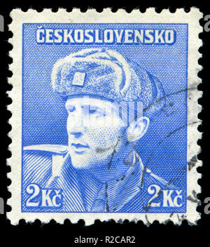 Postage stamp from Czechoslovakia in the London issue, 1945 - Stock Photo