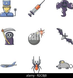 Deadly business icons set, cartoon style - Stock Photo