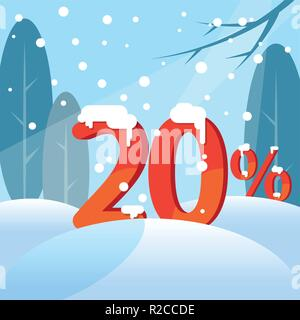 A discount twenty percent. Figures in the snow - Stock Photo