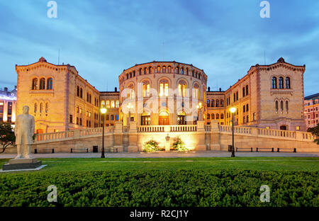 Oslo parliament - panorama at night - Stock Photo