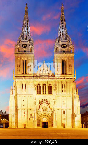 Zagreb Cathedral with Archbishop's Palace. Croatia. - Stock Photo