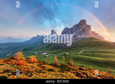 Landscape nature mountan in Alps with rainbow - Stock Photo