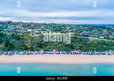 Aerial view of picturesque beach huts on Mills Beach in Mornington, Victoria, Australia - Stock Photo