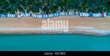 Aerial panorama of long row of beach huts and beautiful turquoise water in Melbourne, Australia - Stock Photo