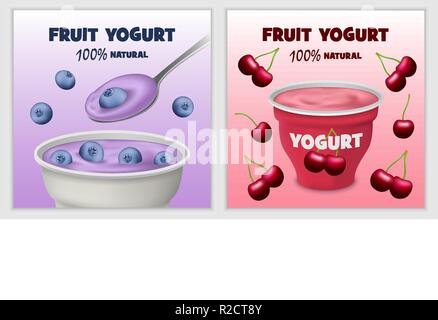 Yogurt box tasty banner concept set. Realistic illustration of 2 yogurt box tasty vector banner horizontal concepts for web - Stock Photo