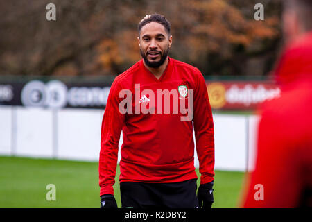 Cardiff, Wales. 15th November, 2018. Wales capatain Ashley Williams trains ahead of their upcoming friendly against Albania. Lewis Mitchell/YCPD. Credit: Lewis Mitchell/Alamy Live News - Stock Photo