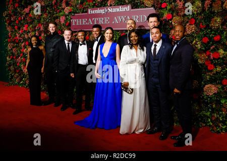 London, UK. 18th November, 2018. The cast of musical Hamilton at 64th Evening Standard Theatre Awards 2018 on Sunday 18 November 2018 held at Theatre Royal Drury Lane, London. Pictured: Michael Jibson, Jason Pennycooke, Tarinn Callender, Christine Allado, Obioma Ugoala, Rachel John, Jamael Westman, Cleve September , Giles Terera. Credit: Julie Edwards/Alamy Live News - Stock Photo